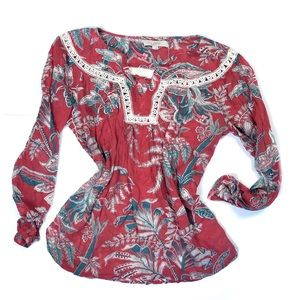 LOFT Red Green Foliage Paisley Boho Blouse